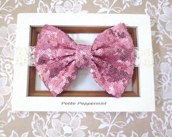 Pink Sequin Baby Headband, Baby Head Band, Baby Hair Bow, Infant Headband, Toddler Headband, Girl Headband, Baby headband bow, sequin bow