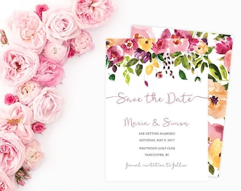 Floral Save the Date Card, Save the Date Card, Wedding Save the Date, Printable Save the Date, Custom Save the Date TFLW