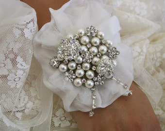 Brooch Wrist Corsage- Bridal Wrist Corsage-Wedding Bridal Jewelry- Mothers of the Bride & Groom Gift  Wedding Corsage Prom Corsage