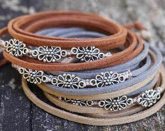 """Boho Jewelry """"Flower Field"""", Bohemian Indie Beachy Hippie Brown Gray Tan Leather Wrap Bracelet Choker Necklace Armband Anklet Hair Accessory"""