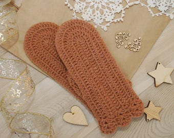 Knit mittens beige brown rozy wool mittens hand knit mittens crochet mittens with pattern ornament mittens cabled mittens toddler crosshatch