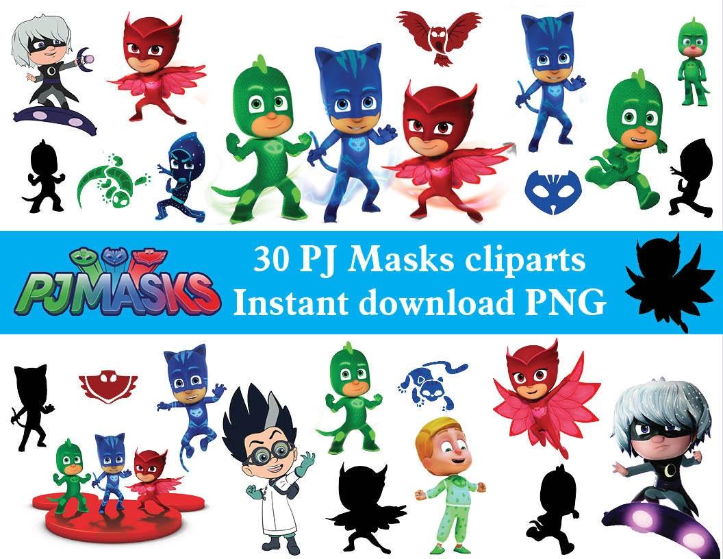 INSTANT DL 30 x Pj Masken Clipart Png druckbare digitale