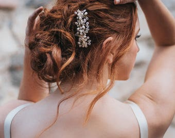 """Bridal Hair Comb, Wedding Comb for Bride - """"Bianca"""" Pearl, Rhinestone and Crystal Large Comb in Silver, Gold or Rose Gold"""