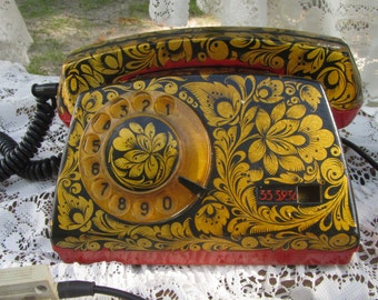 Rotary dial phone Telephone Working USSR Khohloma Painted Corded Home Rotary Old Shabby Fancy Telephone USSR Classic Painting