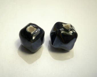 square 10 mm black silver hand made porcelain bead