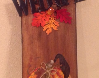 Fall Pumpkin Crow Sign  Upcycled Wood Shingle Holiday Sign Handmade Pumpkins and Crows Country Housewarming Gift Country Decor Fall Sign