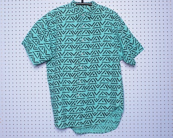 Vintage 80s 90s TEAL GEOMETRIC Button Up Shirt Zack Morris Allover Print