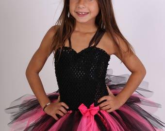 Girl pink and black Halloween costume dress tutu, Carnival
