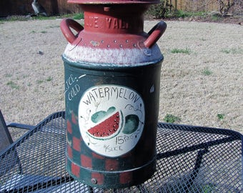 Antique Milk Can / Metal Milk Can / Folk Art Painted Milk Can
