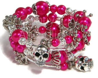 Coil Charm Bracelet, Cerise Dark Pink Glass Pearl, Silver, Filigree & Skull Charms, One Size Fits Most, new