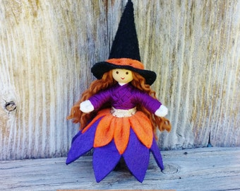 Witch Doll - Halloween Toy - Halloween Doll - Switch Witch  Miniature Witch - Halloween Decor - Purple - Orange -  Bendy Doll