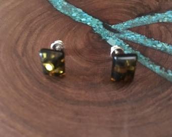 Amber stud earrings, amber sterling silver earrings
