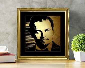 Leonardo DiCaprio in Gold - Leonardo DiCaprio - Leonardo DiCaprio Print - Leonardo DiCaprio Poster - Leonardo DiCaprio art - illustration