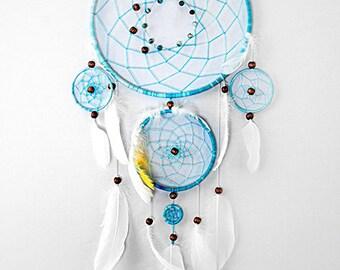 Large Blue dreamcatcher, Large dream catcher, Blue dreamcatchers, Boho dreamcatcher, wooden beads, feathers