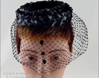 Black Tear Drops Veil Hat,Black Mourning Hat,Black Tear Drops Vintage Mourning Hat,Black Mourning Hat with Black Veil (Inventory #HAT278)
