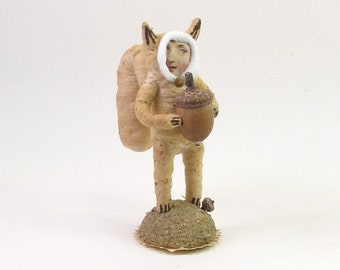Spun Cotton Vintage Style Squirrel Child Figure (MADE TO ORDER)