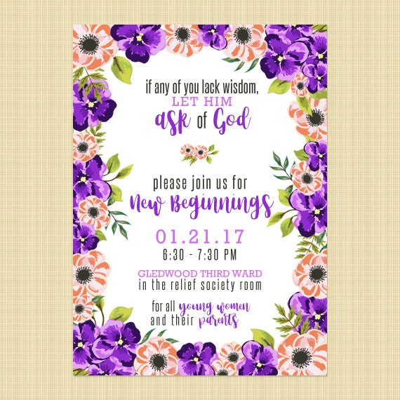LDS New Beginnings Invitation Young Women in Excellence 2018