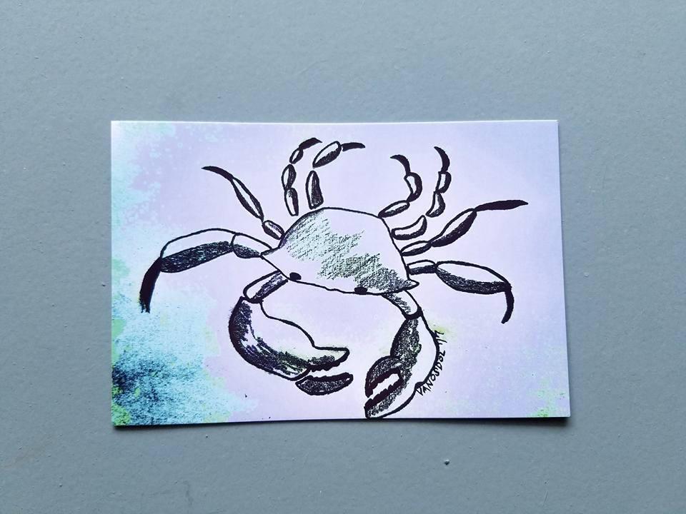 CANGREJO azul Resumen grafito lápiz boceto postal lámina por