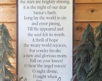 O Holy Night- O Holy Night Sign- Christmas Song Lyrics- Christmas Decor- Mantle Decor- Large Wood Sign- Large Wall Decor- Gift