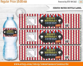 ON SALE Circus Water Bottle Label, Circus Water Bottle, Carnival Water Bottle, Circus label