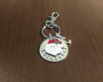 Custom Stamped Christmas Key Chain - Santa Key Chain - Personalized Christmas Gift - Name Key Chain - Stamped Christmas Gift