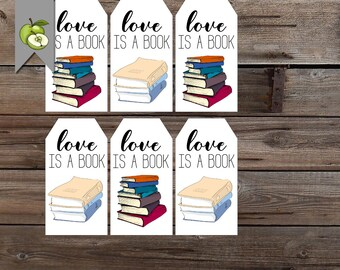 book tag, love is a book, book lover tag, Birthday gift tags, printable, gift tags, thank you gift tags, thank you tag, gift, digital files
