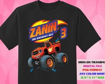Blaze And The Monster Machines Iron On Transfer , Blaze DIY Boy Birthday Shirt , Blaze DIY Transfer , Blaze Printable , Digital Files