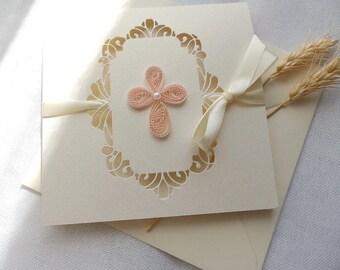Handmade christening invitation/Cross invite/Boy and Girl Baptism invite/Doily invite/Elegant christening  invite/First Communion invitation