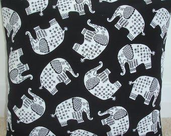 "18x18 Pillow Cover Elephant Black and White 18"" Throw Accent Decorative Cushion Slip Sham Case Pillowcase Elephants"