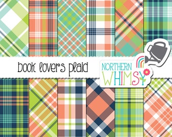 "Plaid Digital Paper - ""Book Lovers Plaid"" - coral, navy, aqua, and lime tartan papers to coordinate with the Book Lovers pattern set - CU OK"