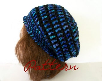 Crochet Pattern: 2 Color Lace Spiral Slouch Hat Pattern