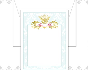 Personalized Vintage Crown Stationery Set of  10, Queen Stationery, Vintage Damask Stationery, Banner stationery, The Queen of the house,