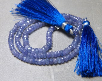 Tanzanite Faceted Rondelle Gemstone Beads 3-5mm Graduated