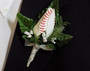 Baseball Rose Boutonniere - Boutonniere - Prom Boutonniere - Wedding Boutonniere