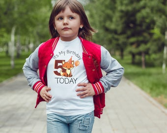 Fox birthday Kids  T-Shirt, Childrens Toddlers T Shirt Top.