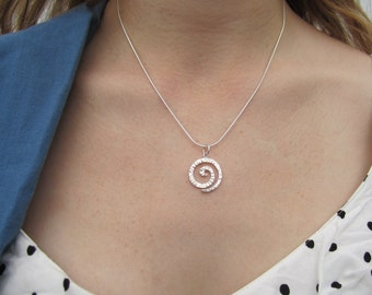 Sterling Silver Swirl Pendant, Hammered Texture, Gaia Pendant, Gift for Her, Simple Silver Necklace, Ready to Ship Neckwear