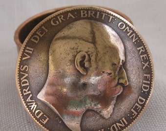 King Edward VII Penny Coin Snuff Box /  Pill Pot / Stash Box / Keepsake Handcrafted In Trench Art Style