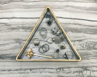 Ring Dish, Jewelry Dish, trinket dish, Triangle Ring Dish, geometric decor, Jewelry Tray, Triangle, Jewelry Storage, Vanity Dish, gold decor