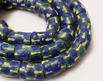African Powder Glass Beads (8), Tribal Beads, Blue Green Yellow Beads