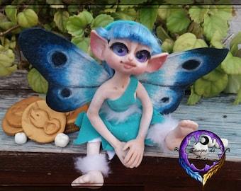 Hada de los dientes, ratoncito perez, escultura del hada de los dientes, hada azul de los dientes, ooak , hada raton