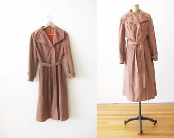Vintage Trench Coat - 70s Trench Coat - Ultra Suede Coat - Faux Suede Jacket - Brown Trench - Belted Coat - Vegan Suede Coat - 70s Clothing