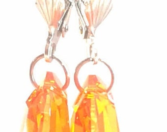 Swavorski Crystal Fire Opal Drop Earring