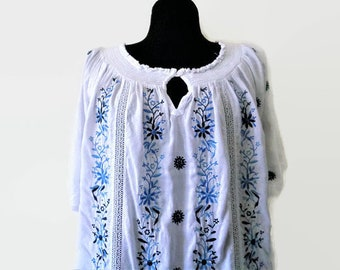White Embroidered Tunic, Blue White Cotton Embroidered Top, Folk Ethnic Top, Peasant Blouse, Festival Blouse, Boho Top, Size XL