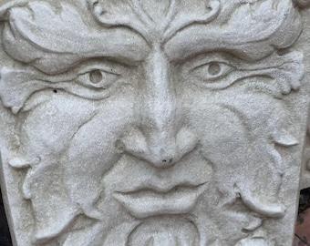 "Nature Greenman Sculpture figure wall plaque art home decor www.NEO-MFG.com 16"" Grand size"