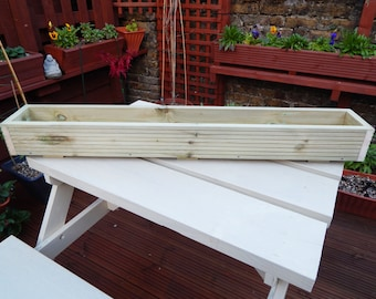 4ft long Window Box/Trough/Garden Planter/Wooden Decking/Herb/Flower 122cm  --  SHALLOW SINGLE WIDTH