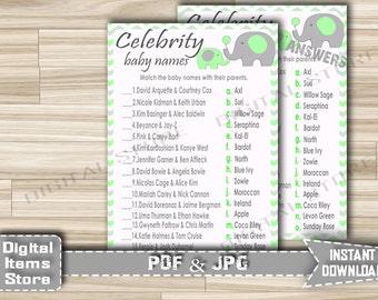 Printable Celebrity Baby Name Game Elephant - Baby Shower Celebrity Baby Name Game With Elephant Green Gray Chevron - Instant Download - eg1