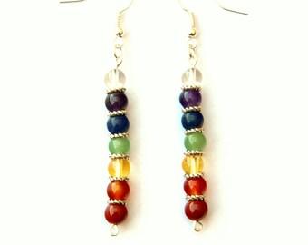 rainbow earrings, chakra jewelry, chakra, 7 chakra, dangle earrings, gemstone earrings, chakra stones, boho earrings, hippie earrings