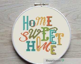 modern cross stitch pattern, Home sweet home, cross stitch quote, PDF  ** instant download**