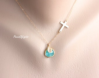 Cross Necklace, Personalized Necklace, Custom Hand Stamped Necklace, Birth Stone Necklace, Engraved Necklace, Personalized Gift, Small Cross