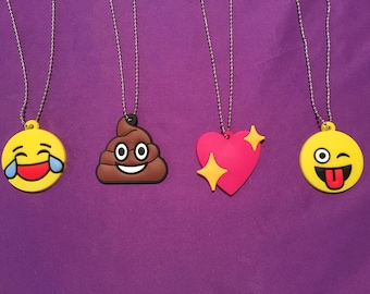 Emoji Necklaces, smiley face, poop emoji, laughing emoji, heart pendant, Party favors